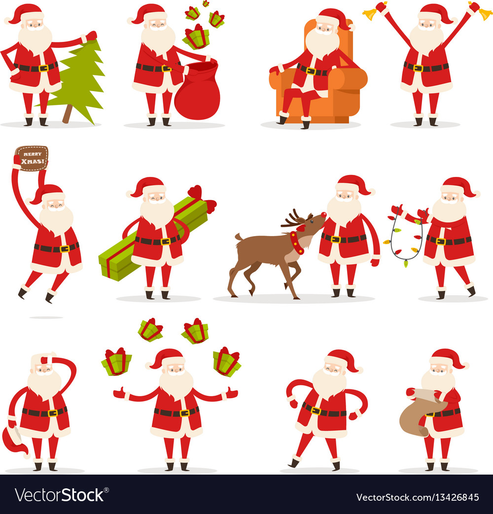 santa claus activities set new year and christmas vector image - Santa Claus Activities