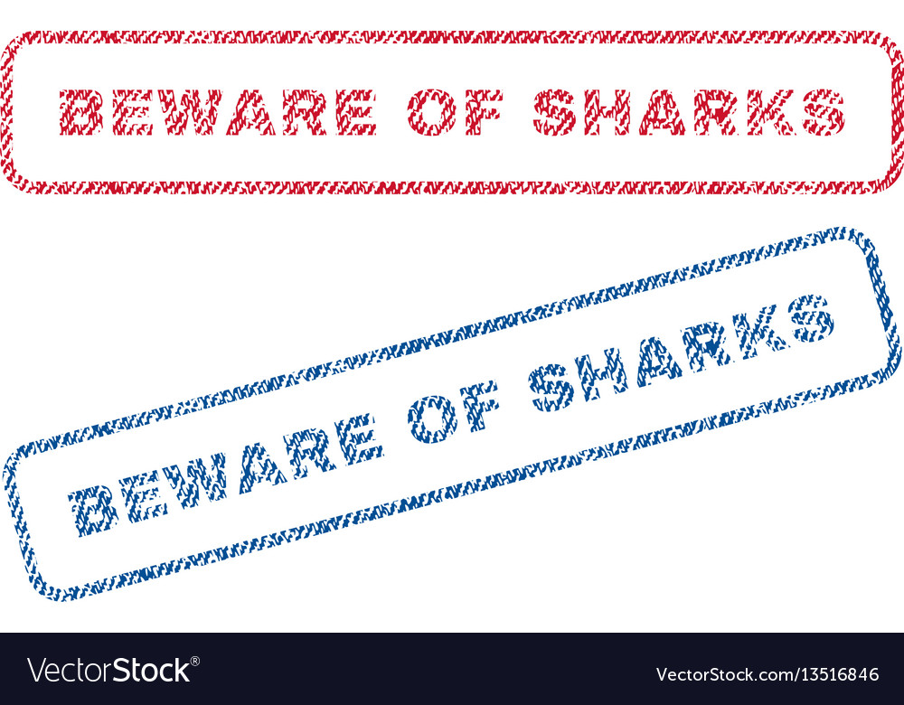 Beware of sharks textile stamps vector image