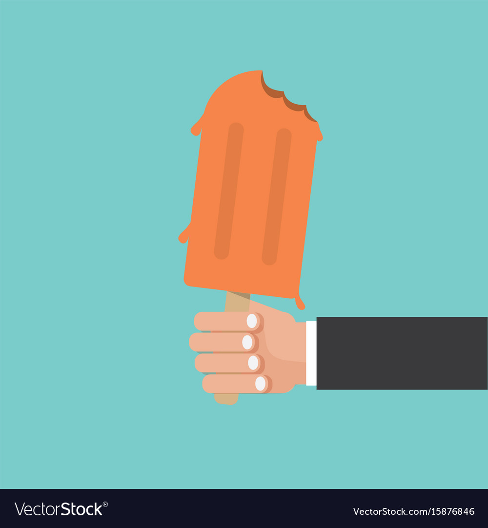 Hand holding popsicle vector image