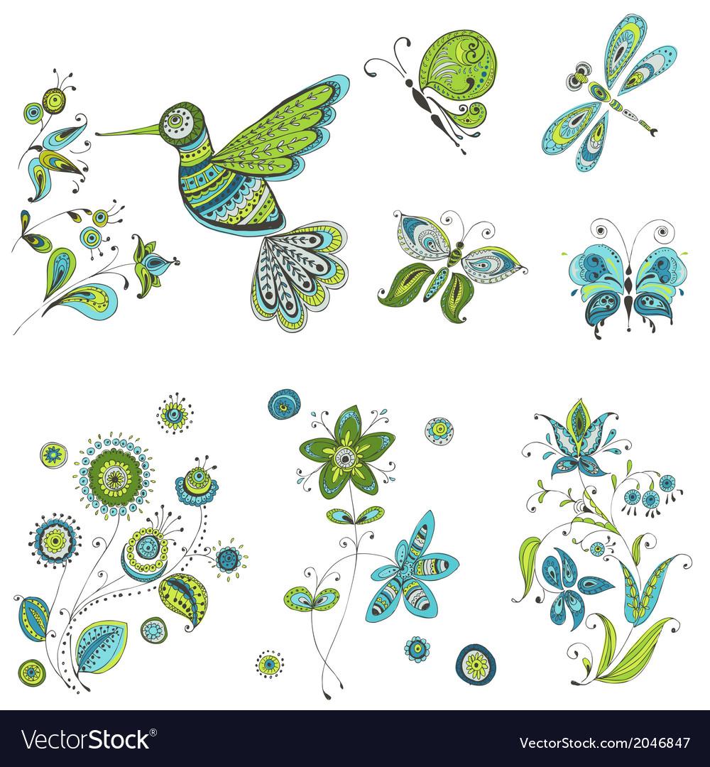spring summer doodles bird butterflies flowers vector image