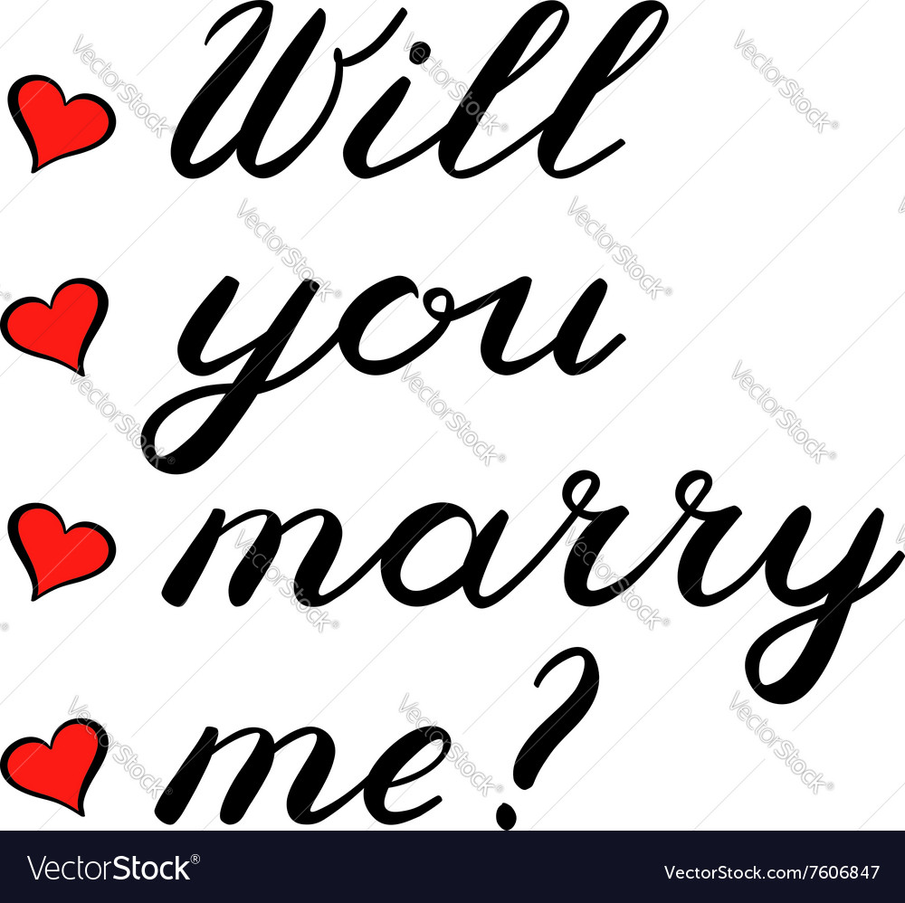 Will you marry me lettering Cute handwriting vector image