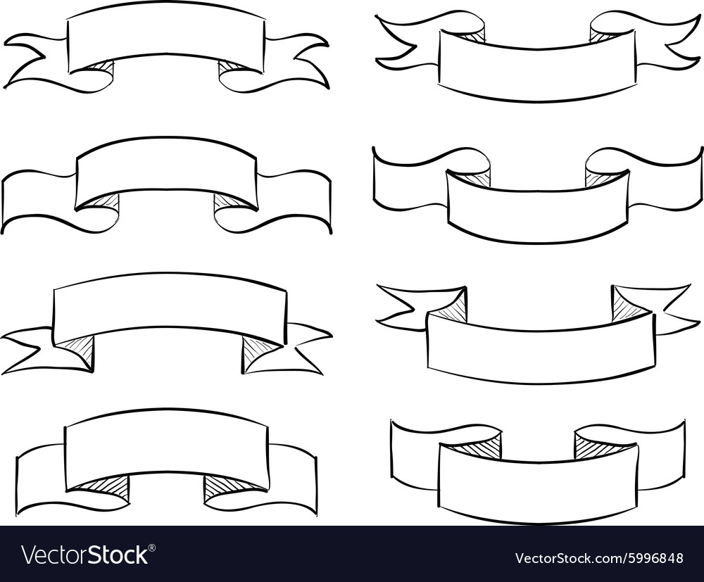 Hand-drawn banner scribble vintage scroll vector image