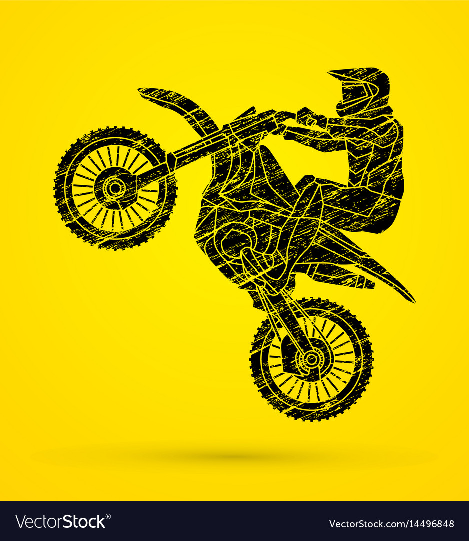 Motorcycle cross jumping freestyle motocross flyi vector image