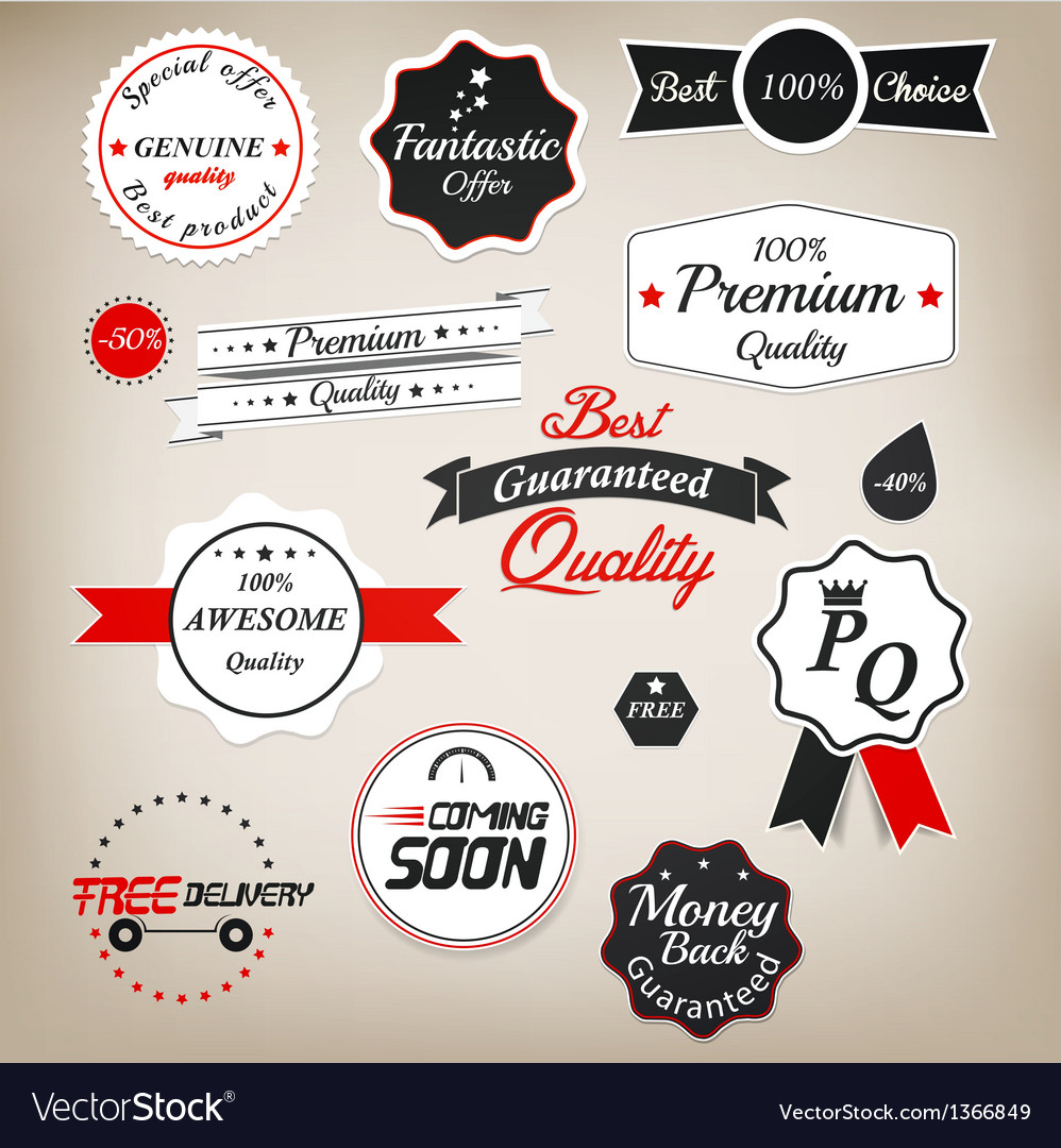 Prenium quality labels 2 vector image