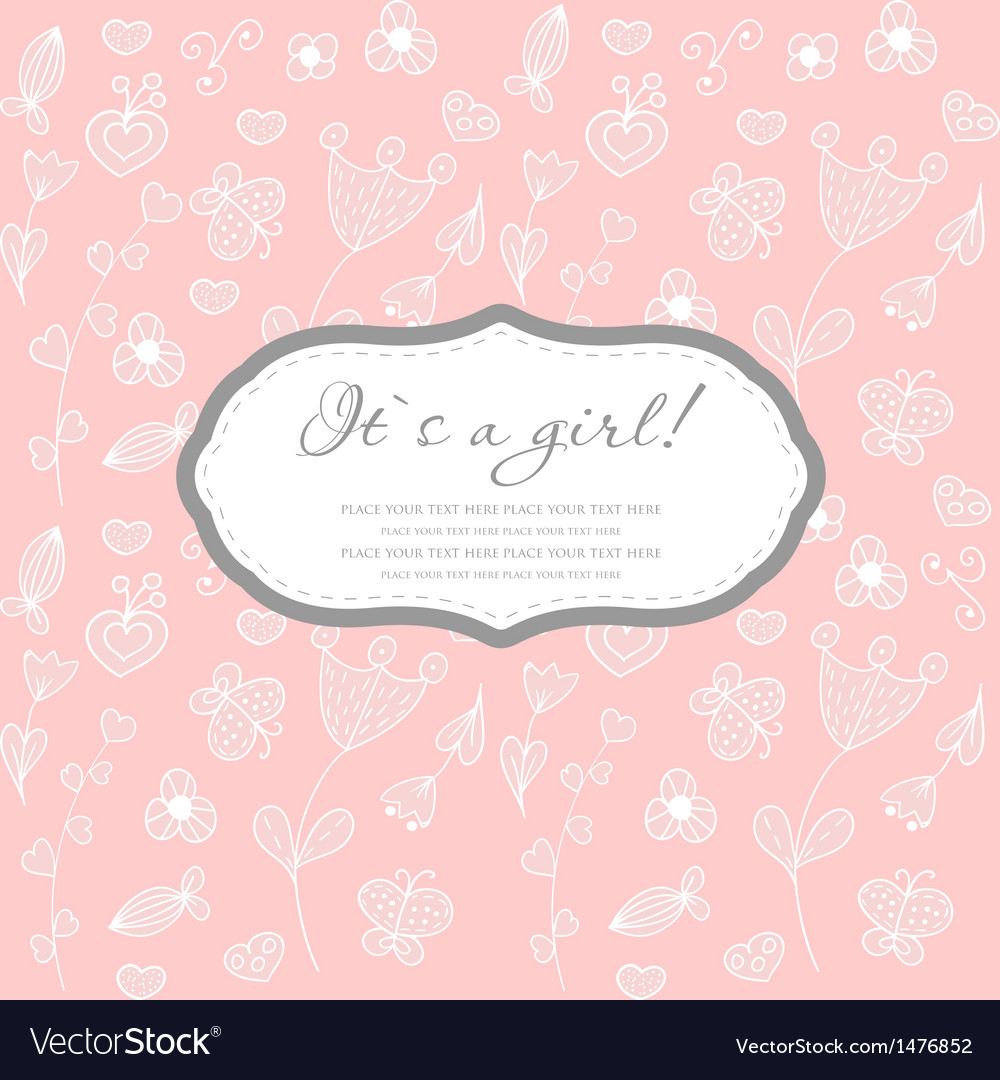 Baby girl shower card with foot steps and frame vector image