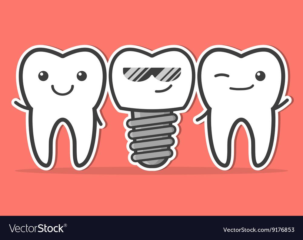 Cartoon dental implant and teeth vector image
