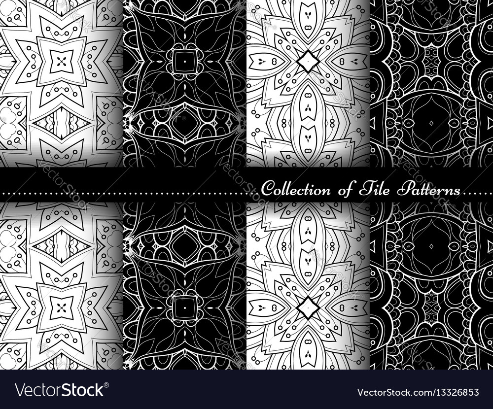 Collection of black and white seamless vintage vector image