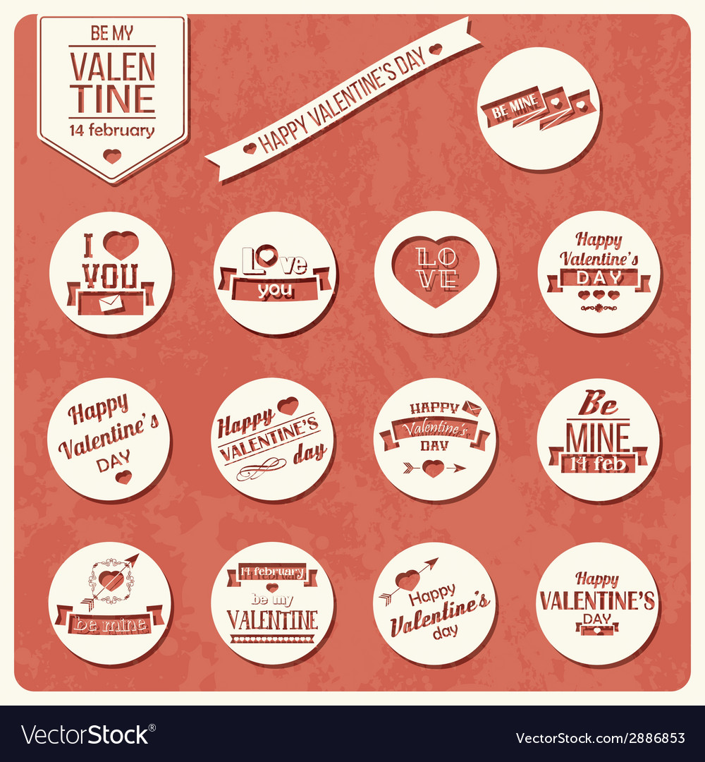 collection of valentines day vintage labels vector image