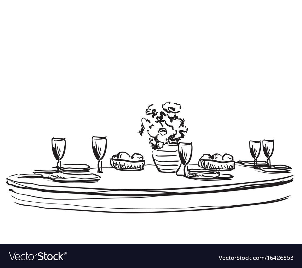 Holiday dinner with flowers vector image