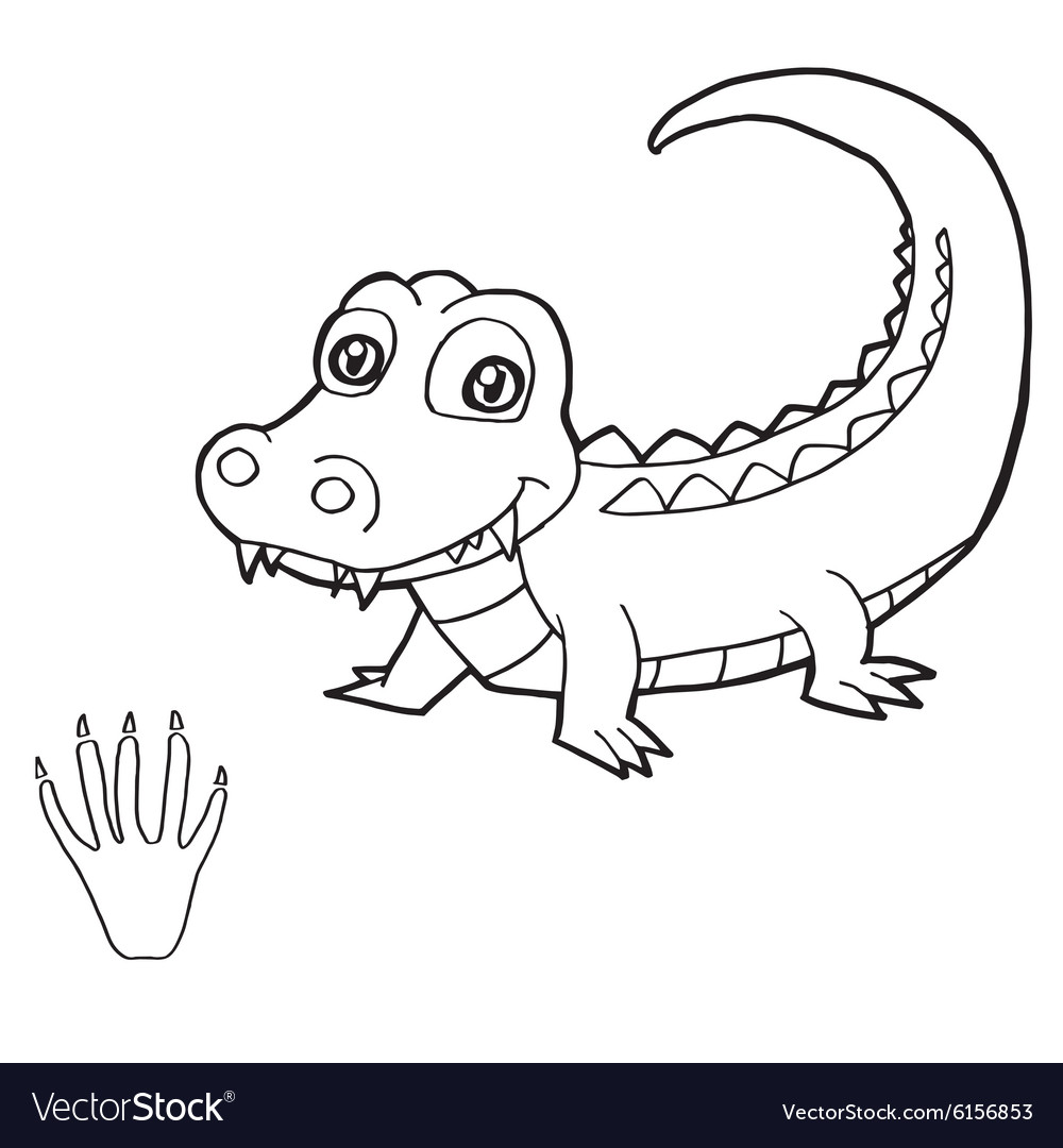 paw print with crocodile coloring pages royalty free vector