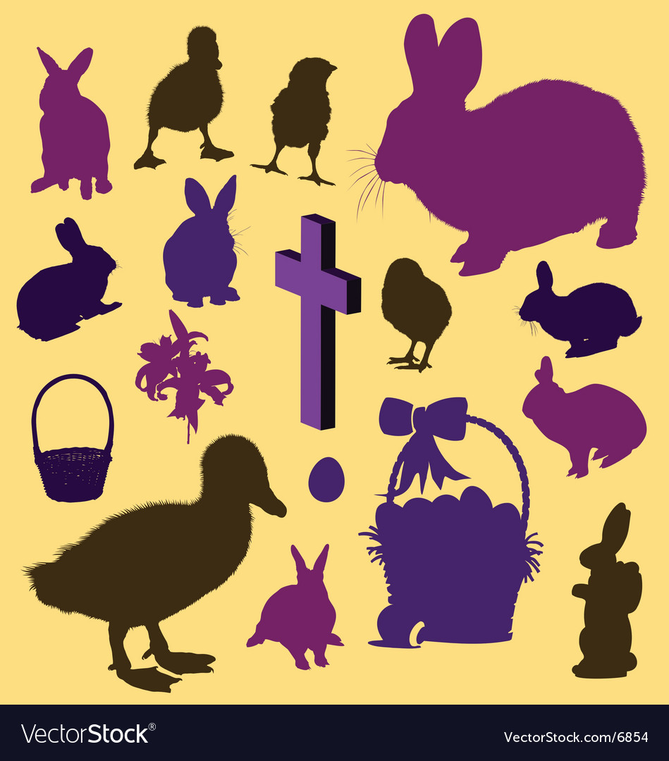 Easter silhouettes Vector Image