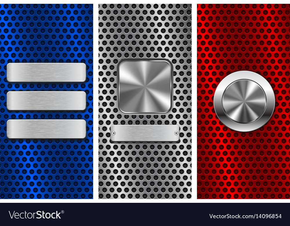 Collection of perforated backgrounds blue red vector image