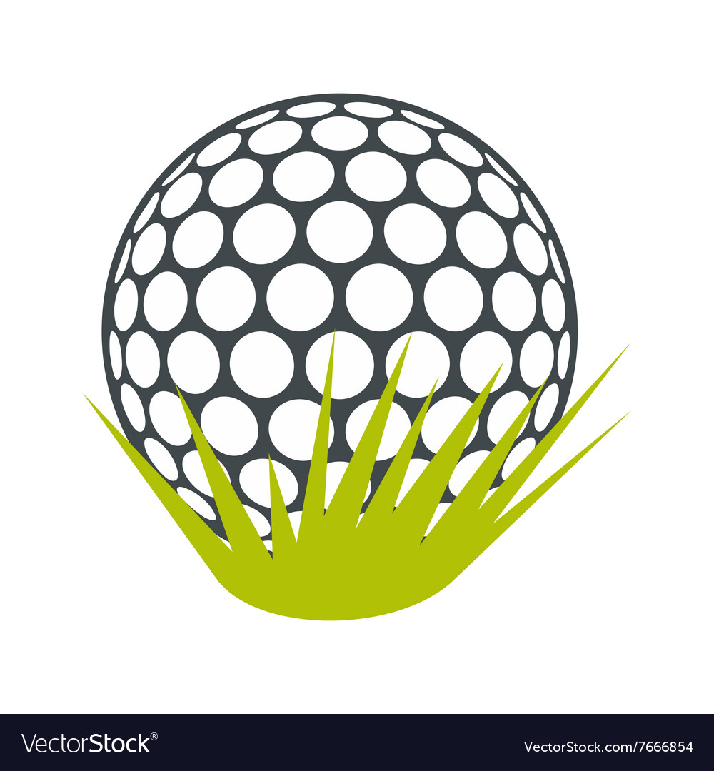 Golf ball on green grass flat icon vector image