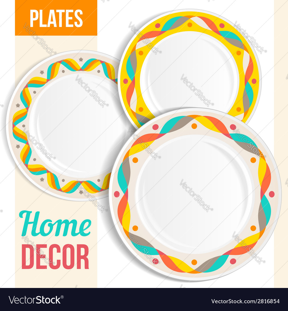 Yellow Decorative Plates Set Of 3 Matching Decorative Plates Royalty Free Vector