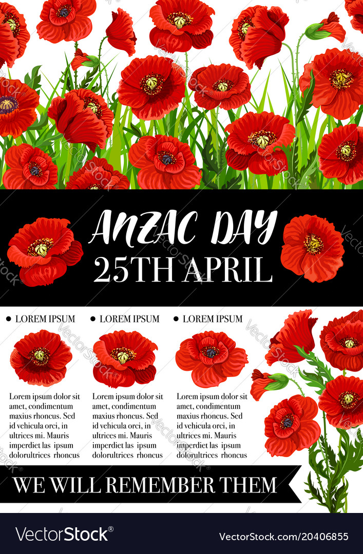 Anzac day memorial banner with red poppy flower vector image mightylinksfo