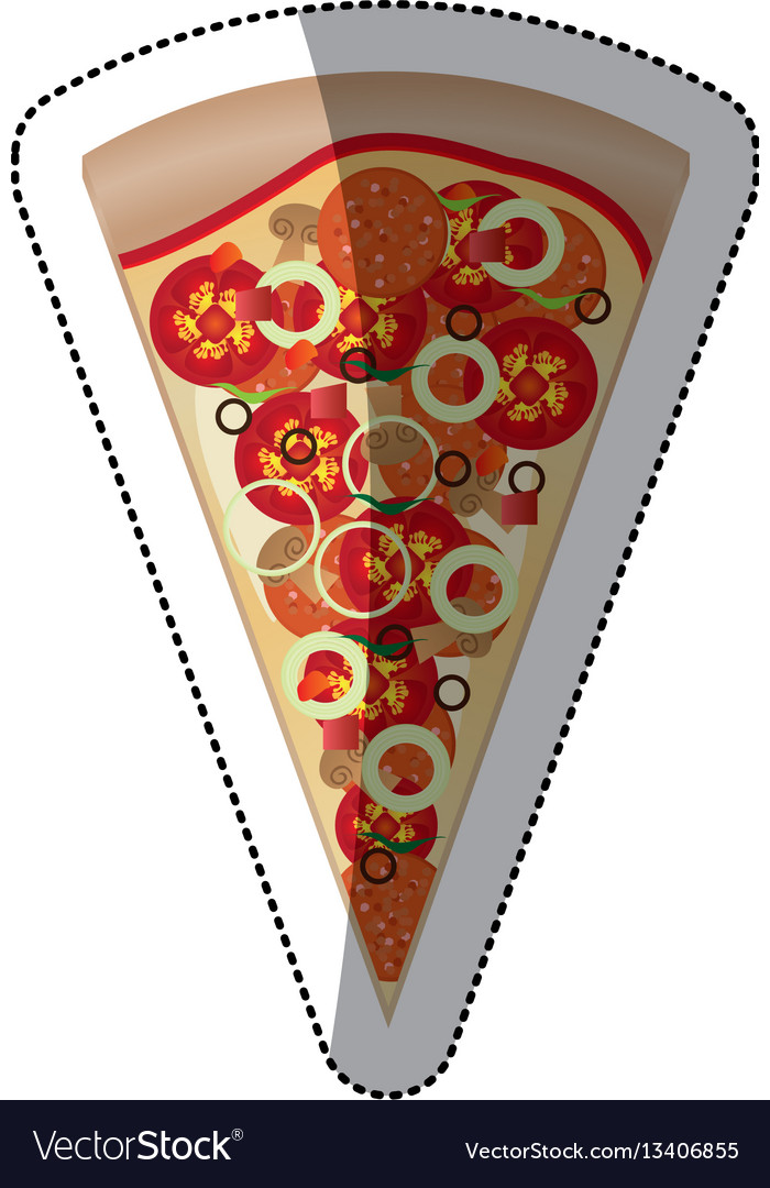 Sticker colorful piece pizza icon fast food vector image