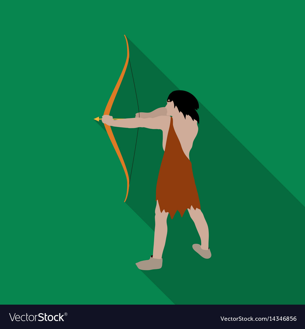 Caveman with bow and arrow icon in flate style vector image