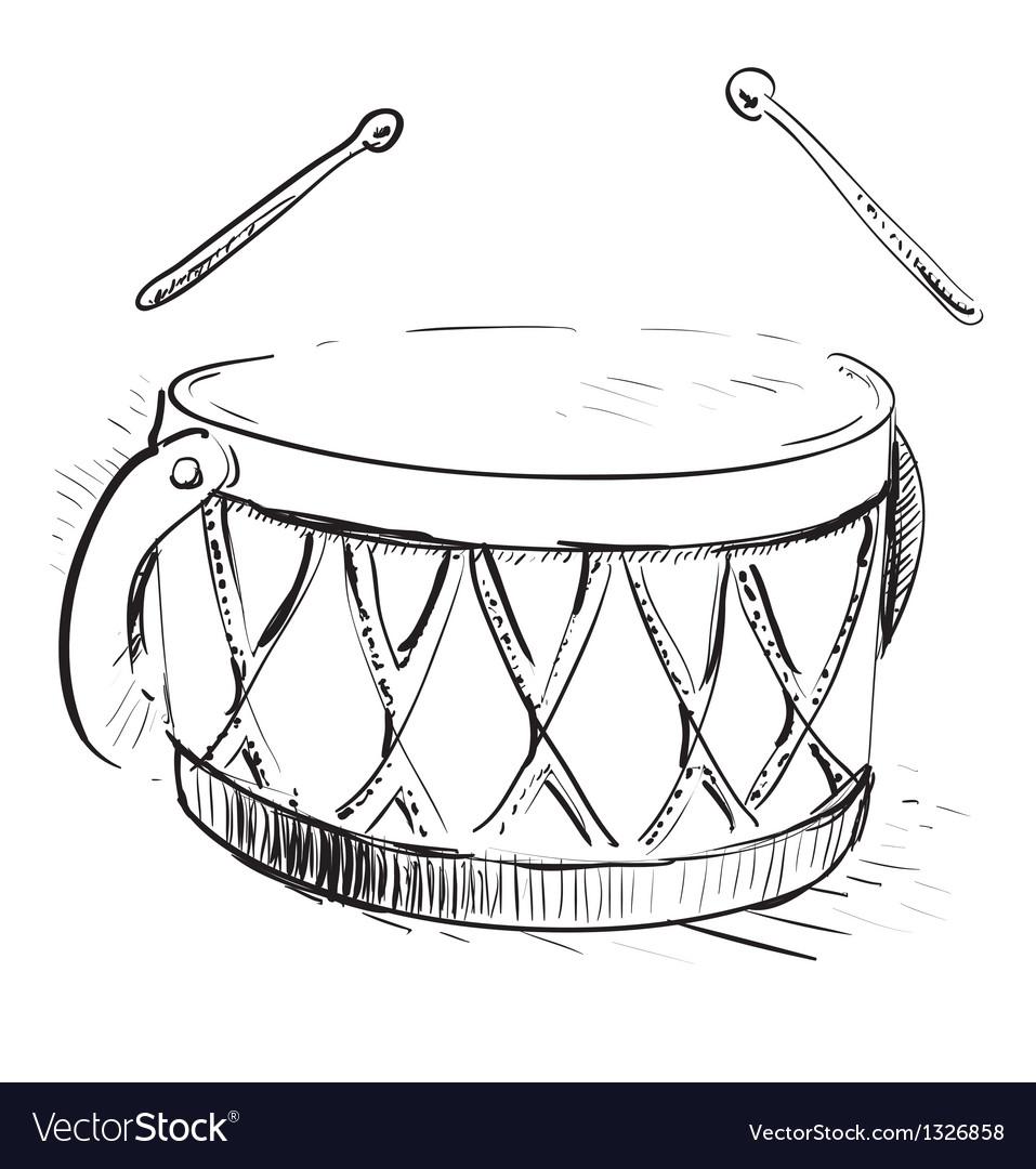 Music drum vector image