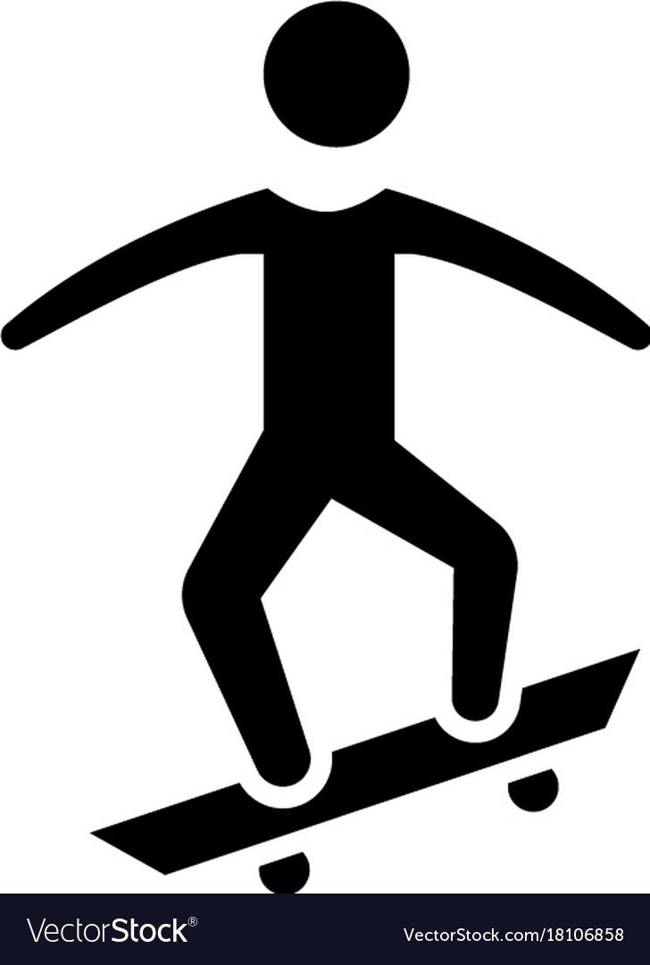 Skating - skate icon black vector image