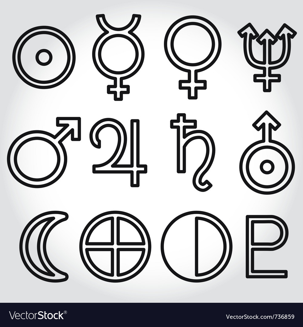 Zodiac and astrology symbols of the planets vector image biocorpaavc Image collections