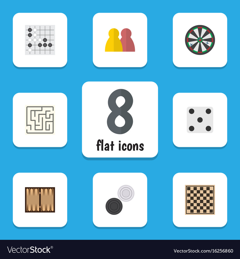 Flat icon play set of arrow chequer dice and vector image