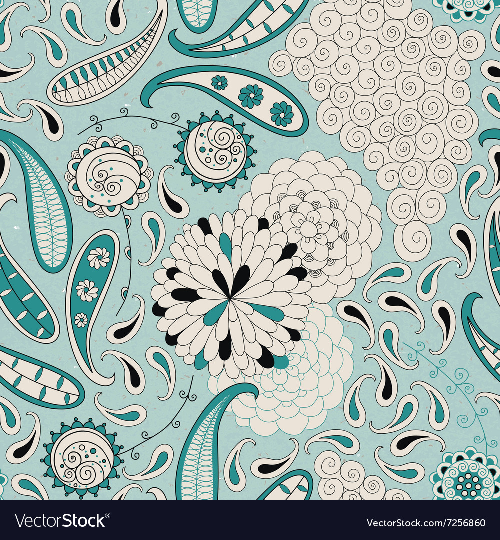 Seamless pattern with abstract flowers and paisley vector image