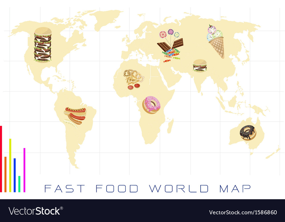 World Map with Fast Food and Sweet Food vector image