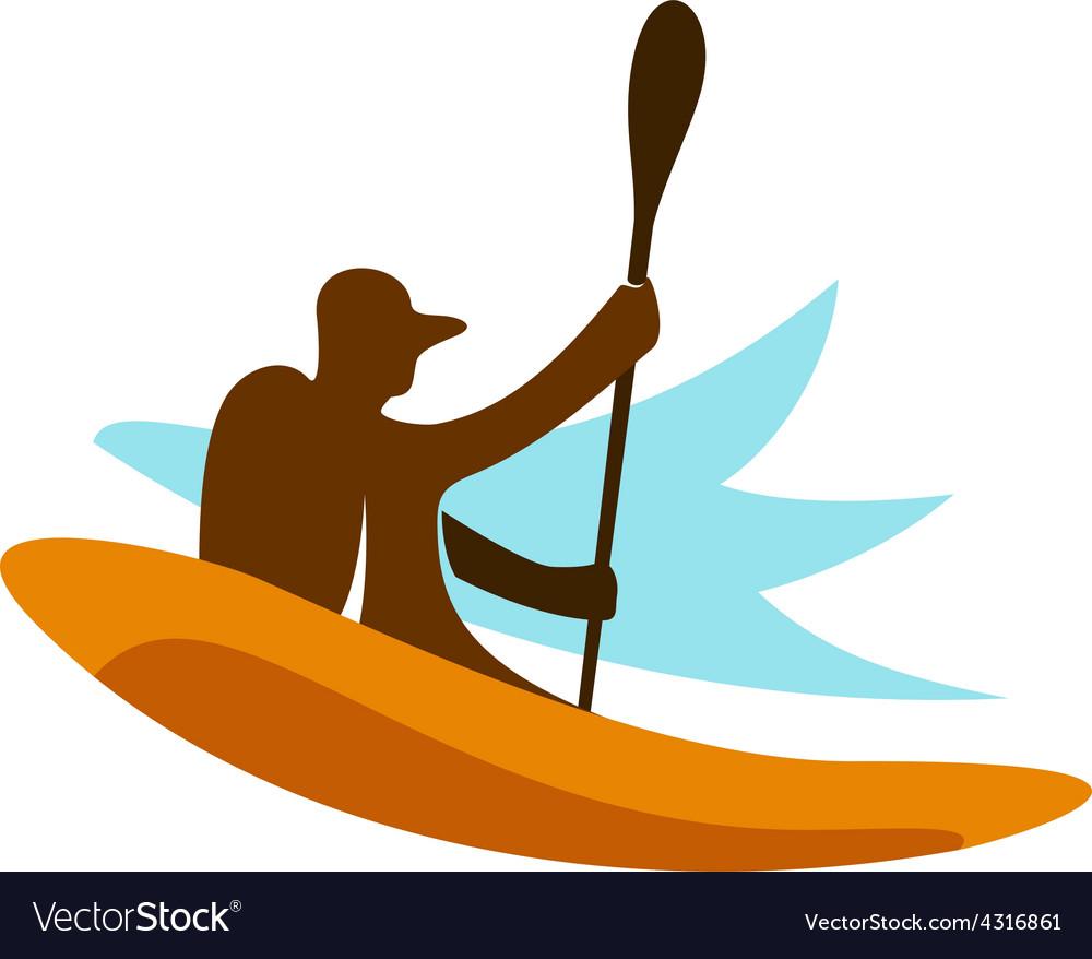Kayak fishing logo vector image