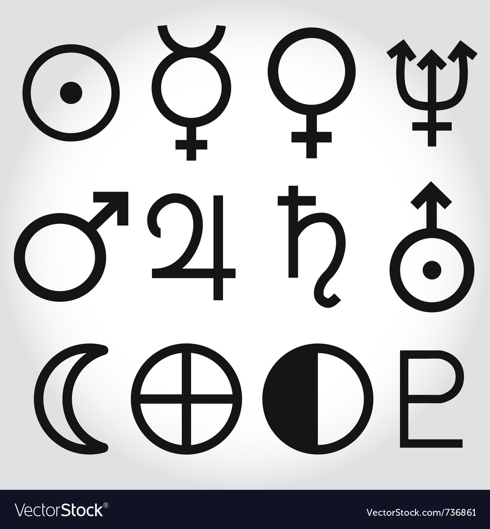 Zodiac and astrology symbols of the planets vector image buycottarizona Choice Image