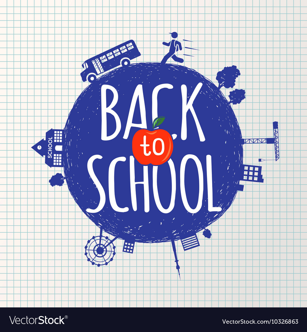 Back to school inscription on the background vector image