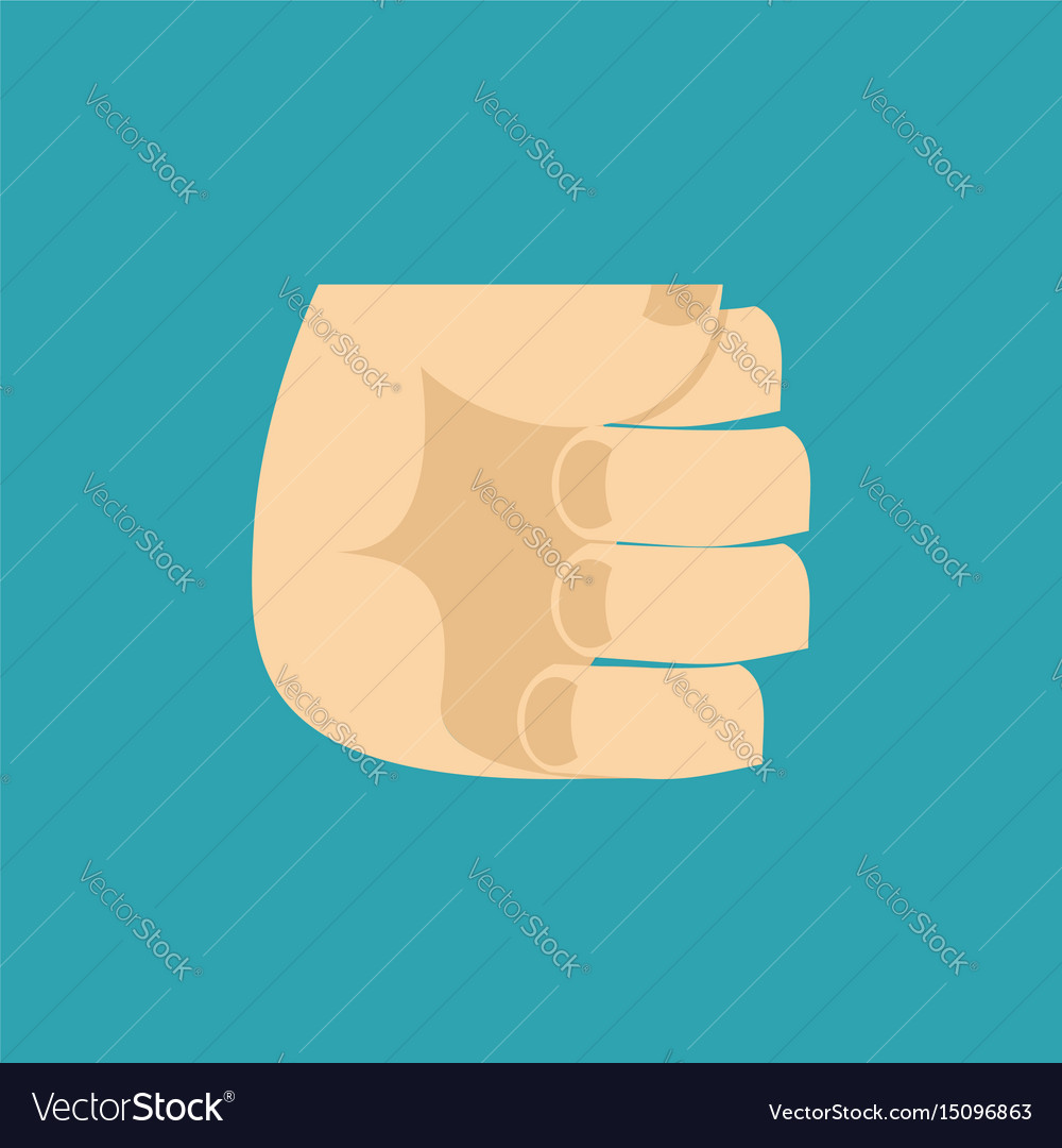 Fist isolated hand brush on blue background vector image