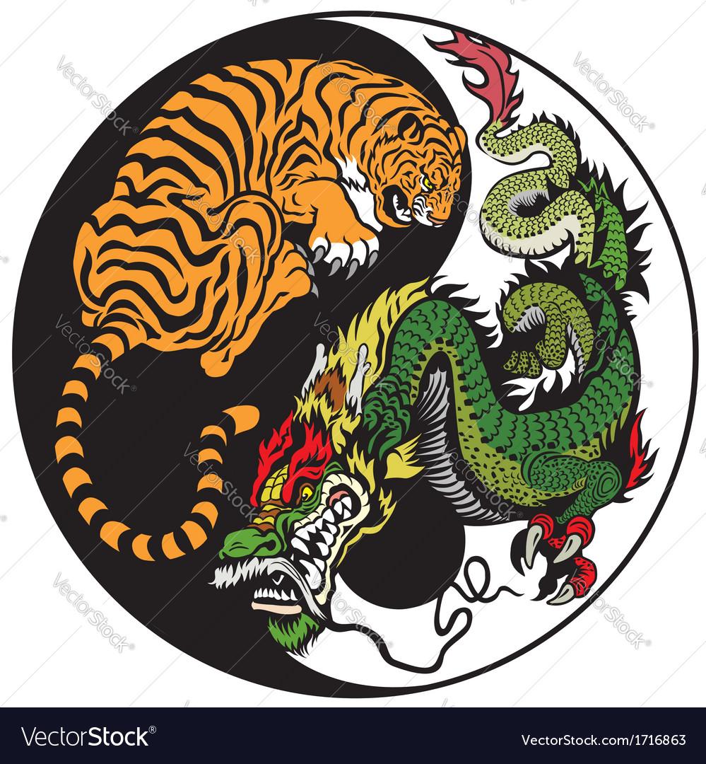 Taoism Symbols Dragon: Yin Yang Dragon And Tiger Symbol Royalty Free Vector Image