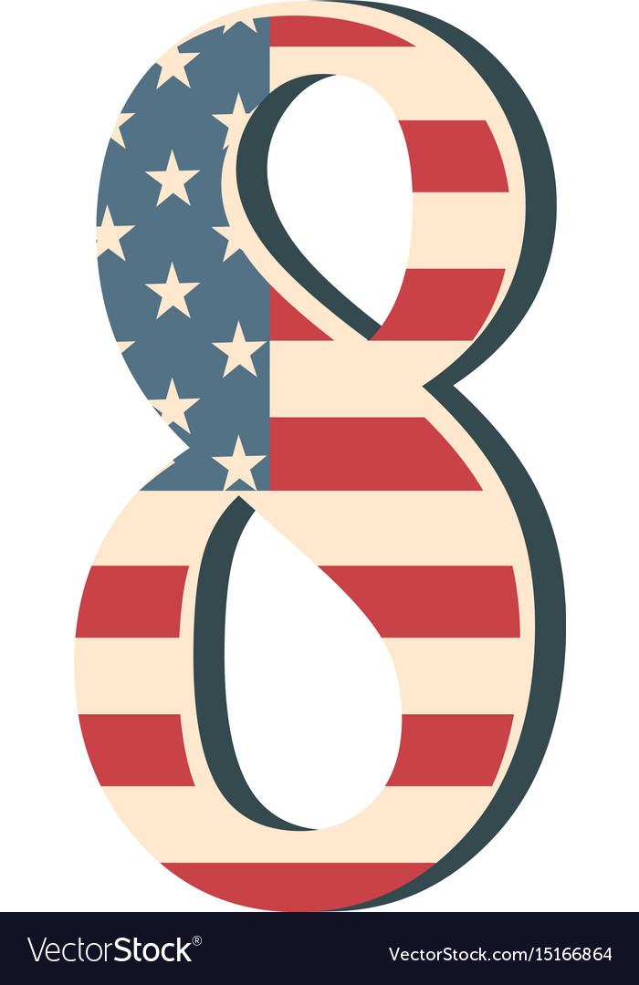 Capital 3d number eight with american flag texture vector image