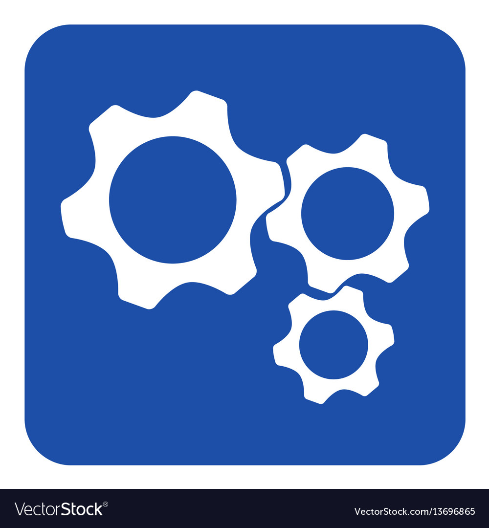 Blue white information sign - three cogwheel icon vector image