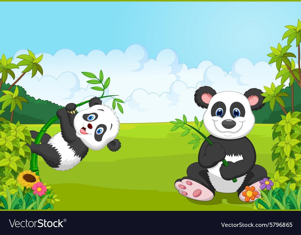 Cartoon mom and baby panda climbing bamboo tree vector image