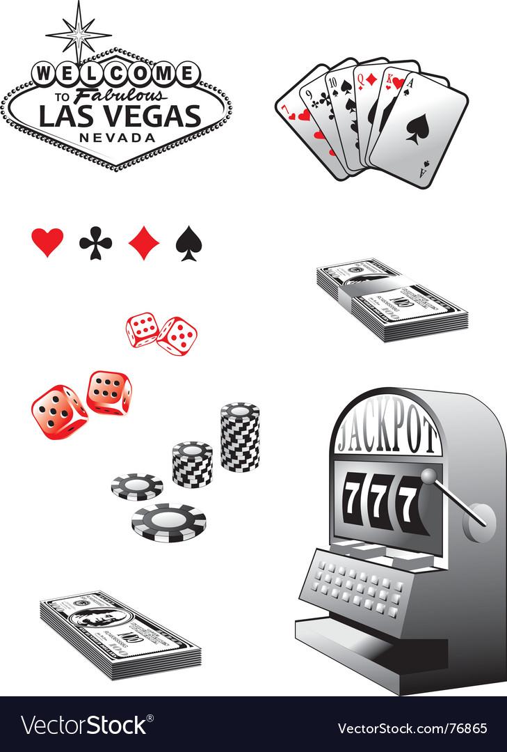 Casino elements set vector image