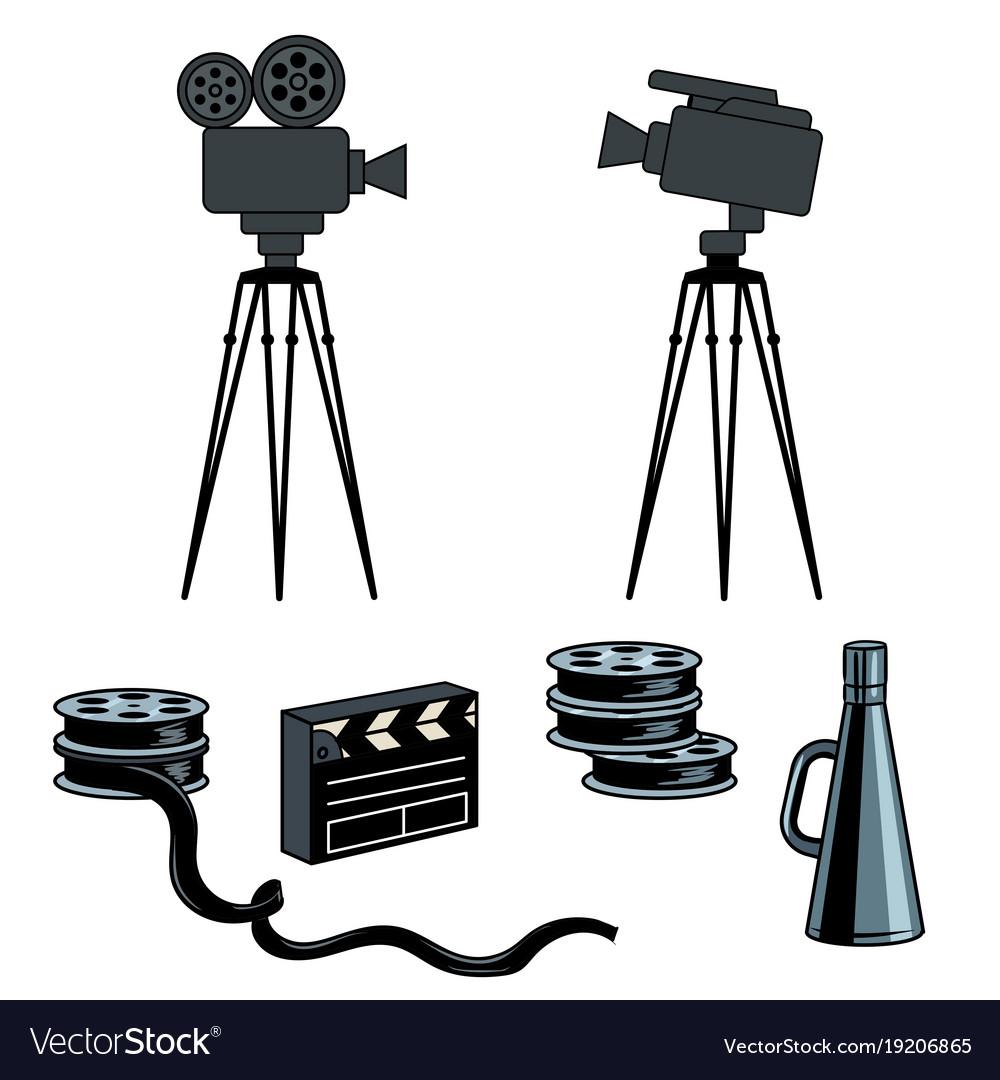 Stage movie tools pop art vector image
