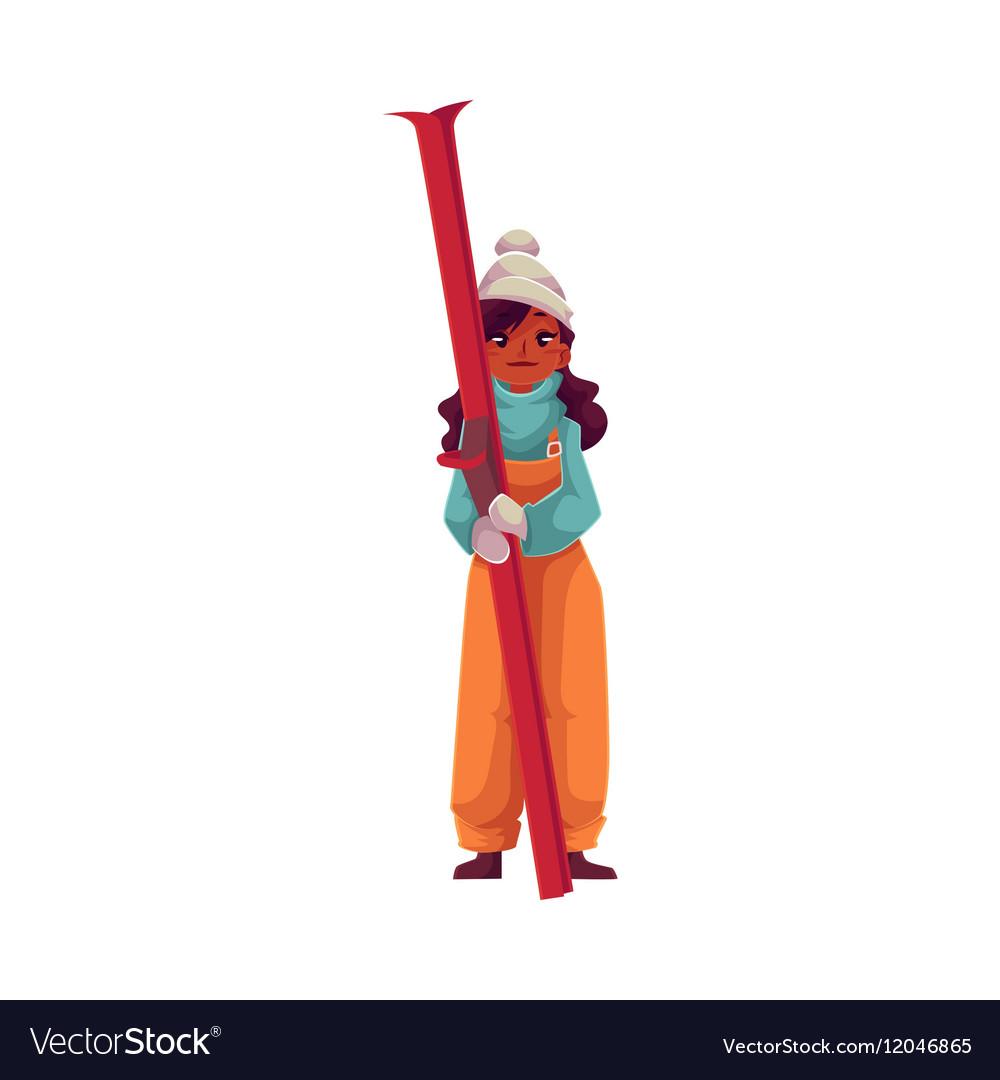 Teen-aged black girl holding ski vector image