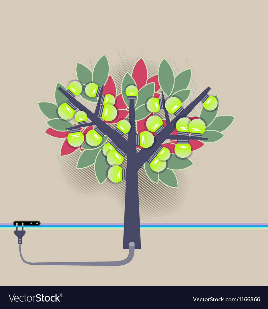 Electrical bulbs plugged tree vector image
