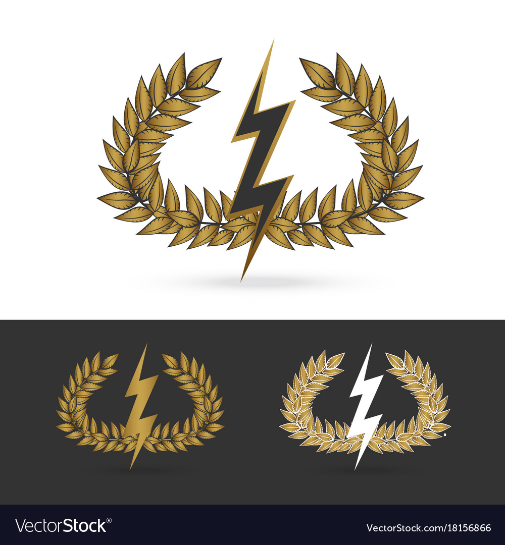 Olive branch with thunder symbol of greek god zeus olive branch with thunder symbol of greek god zeus vector image biocorpaavc Images