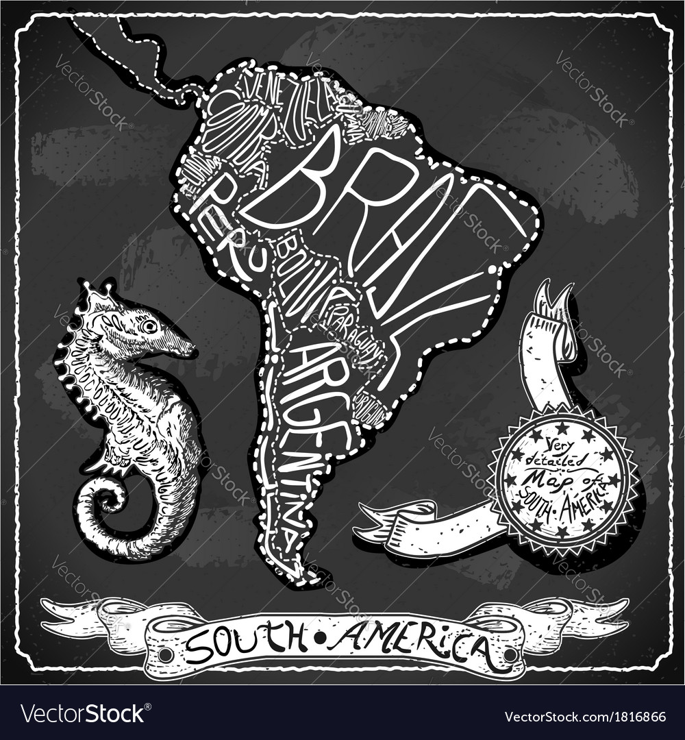 South America Map on Vintage Handwriting vector image