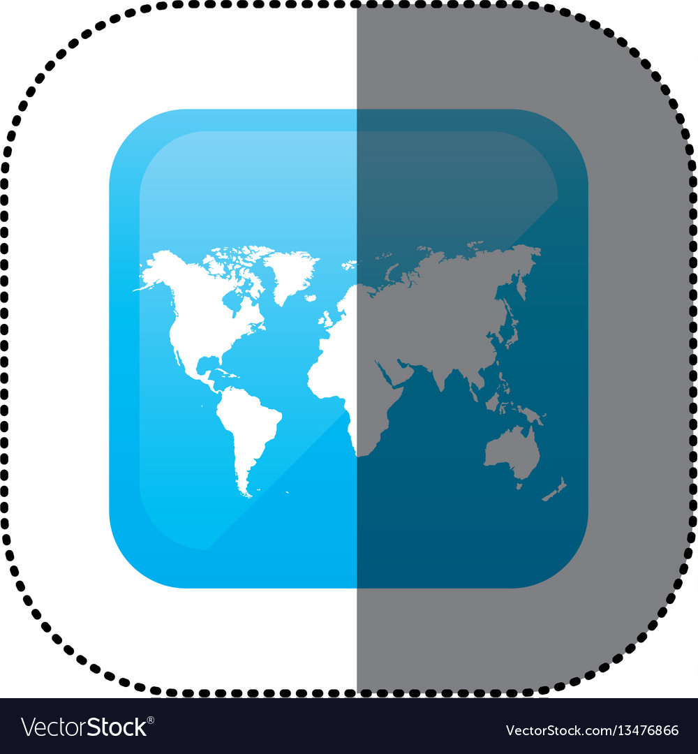Sticker color square frame with world map vector image gumiabroncs Choice Image