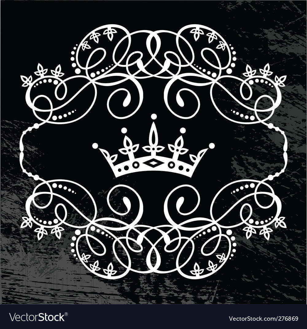 Frame and crown vector image