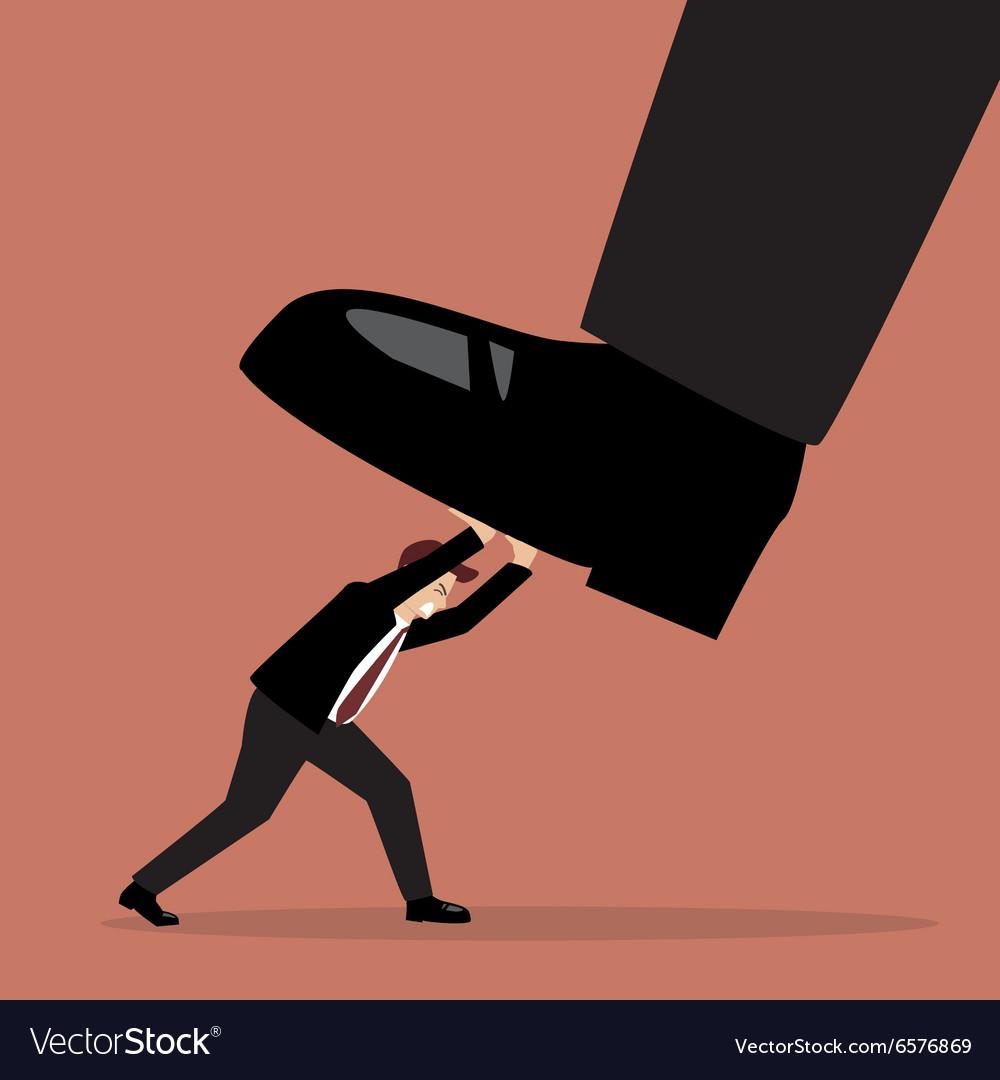 Businessman pushing big foot vector image