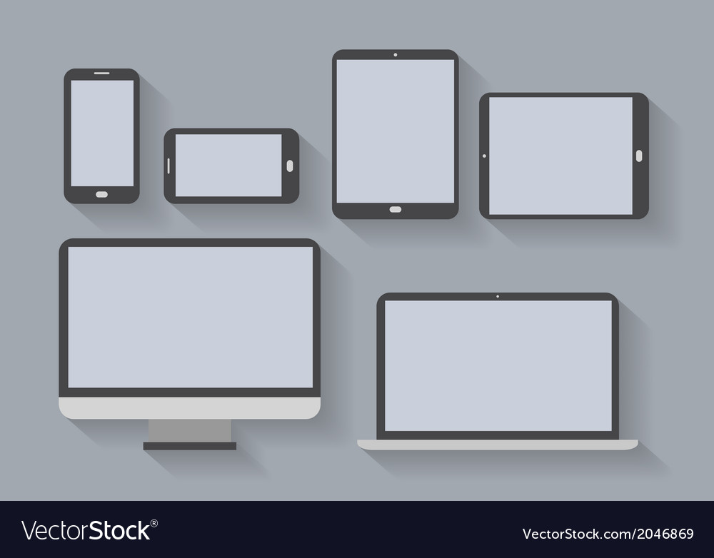 Electronic devices with blank screens vector image