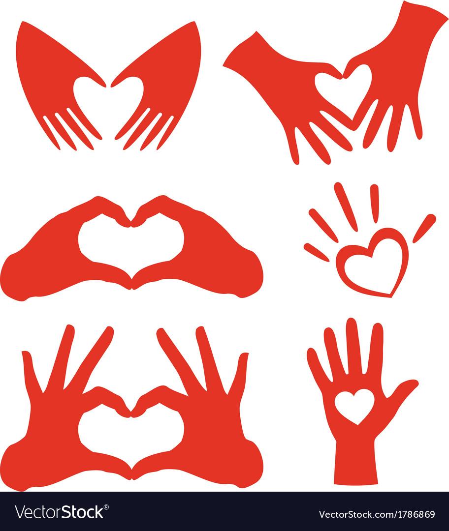 Heart hands set vector image