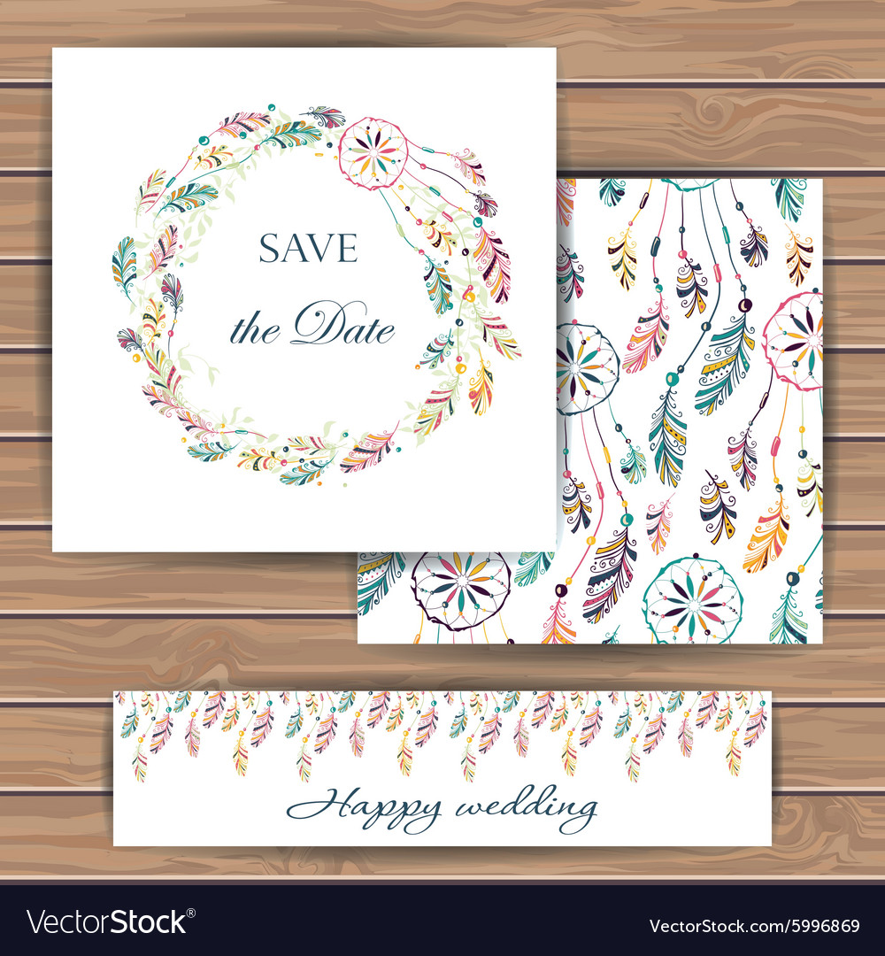 Save the date card with dream catcher vector image