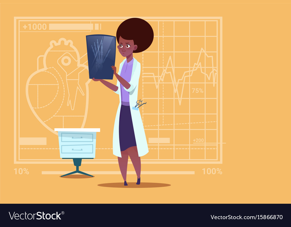 Female african american doctor examining xray vector image
