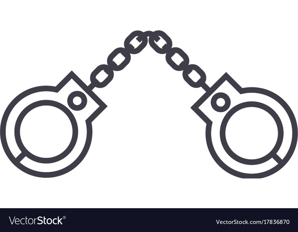 Handcuffs line icon sign on vector image