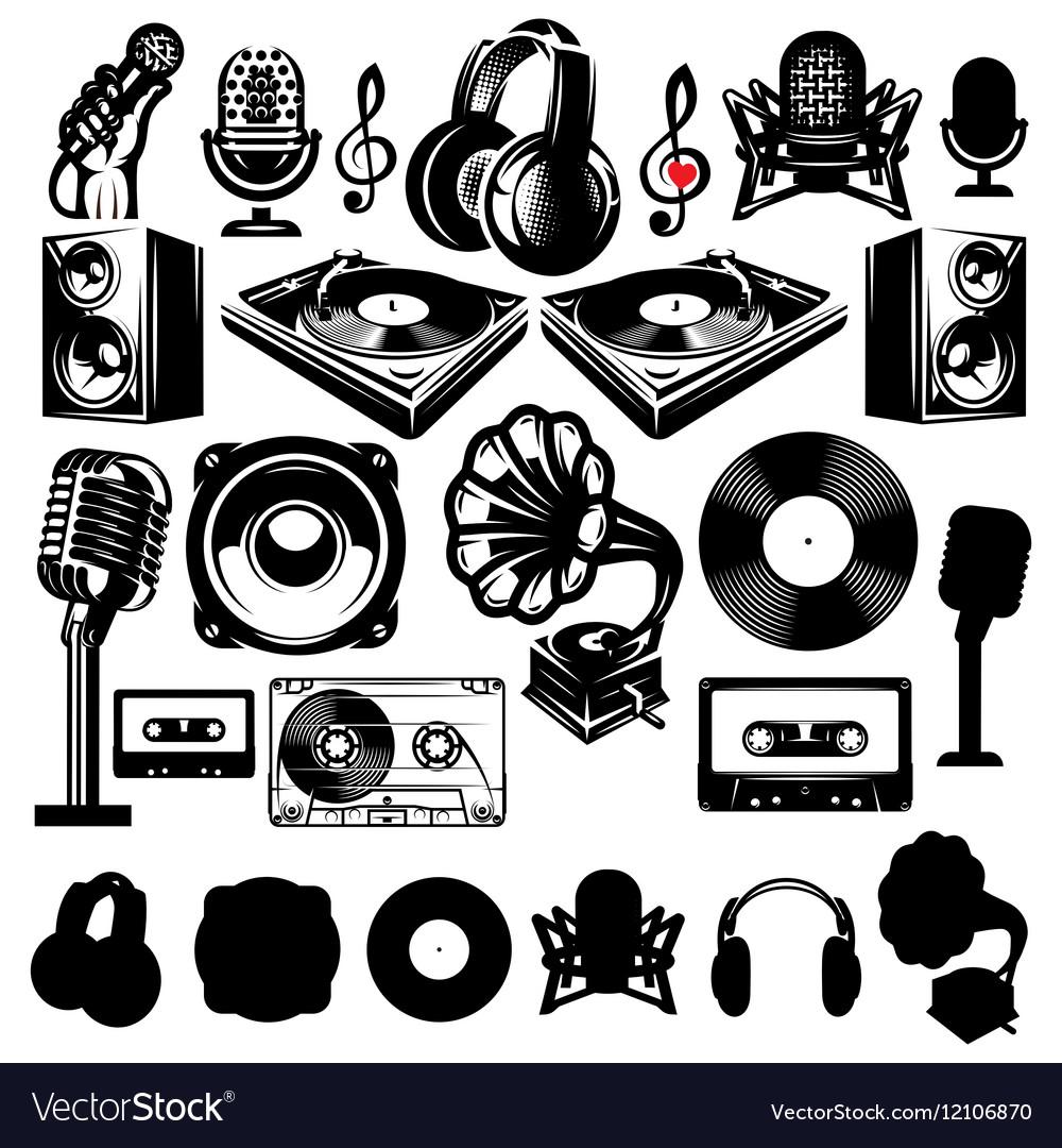 Set of retro templat for karaoke disco party vector image